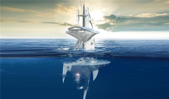 """【导读】jacques rougerie是一名十分有远见的法国海洋建筑师,他最近设计的一个水上探索平台""""seaorbiter"""",专为水上探索提供便利。  jacques rougerie是一名十分有远见的法国海洋建筑师,他最近设计的一个水上探索平台""""seaorbiter"""",专为水上探索提供便利。SeaOrbiter 高 61 米,游行时漂浮在海平面以上,约有一半潜伏在水下。平台顶部为空气通风和通讯系统(广播和卫星天线等),以及一个瞭望台,瞭望台的窗户像是两只"""